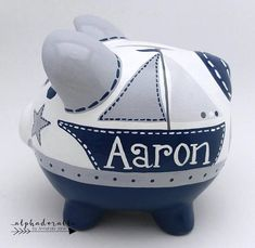 Nautical Personalized Piggy Bank in Navy, Grey and White with Anchor and Sailboat The Little Couple, Personalized Piggy Bank, Nautical Baby, Money Box, Gourd Art, Porcelain Ceramics, Toddler Crafts, Grey And White, Baby Shower Gifts