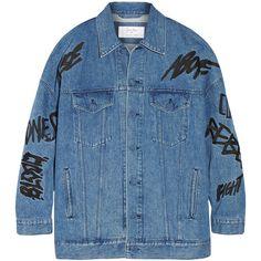 + Ambush embellished denim jacket (485 BAM) ❤ liked on Polyvore featuring outerwear, jackets, coats, coats & jackets, blue jean jacket, blue jackets, denim jacket, embellished jackets and embellished denim jacket