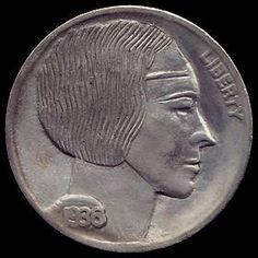 RAY CASTRO HOBO NICKEL - 1936 BUFFALO PROFILE Hobo Nickel, Buffalo, Classic Style, Coins, Carving, Profile, Art, User Profile, Art Background