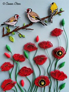 Sparrows with flowers