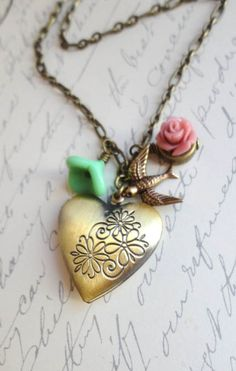 Heart Locket Flowers and Bird Necklace