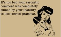 It's Too Bad Your Sarcastic Comment Was Completely Ruined By Your Inability To Use Correct Grammar.
