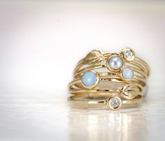 Leaf, Opal, Diamond, and Pearl Stacking Ring Set of 7 - 14k Gold Stack Rings by Melanie Rawding