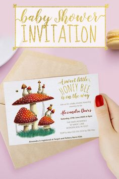 Shop Elegant mushroom & bees gender neutral baby shower invitation created by LandofWhimsy. Personalize it with photos & text or purchase as is! Gender Neutral Baby Shower, Baby Shower Themes, Shower Ideas, Baby Shower Invitations, Birthday Invitations, Bee Theme, Personalized Invitations, One Design, Gold Foil