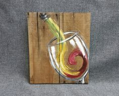 Red White Wine Painting Pallet wall Art decor, reclaimed wood, Distressed wine glass, hand painted, gift