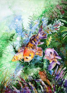 ARTFINDER: Aquarium by Zaira Dzhaubaeva - Original Watercolor Painting on Paper.
