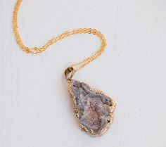 Grey AGATE Stone Pendant Druzy NECKLACE by redtruckdesigns on Etsy