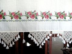 ECO Friendly Naturel Cotton Curtain Emroidery and Adorned with Handcrochet Lace and Wooden beads and Tassel Cotton Curtains, Valance Curtains, Wooden Beads, Doilies, Window Treatments, Sweet Home, Shabby, Embroidery, Lace