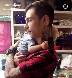 Andy Biersack / Andy Black with a baby (From Juliets snapchat)