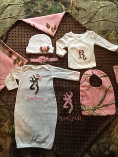 Real tree camo baby boy personalized 6 piece gift set bodysuite personalized real tree or mossy oak camo 6 piece ultimate newborn or homecoming baby girl gift negle Image collections