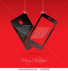 Smart phone for Christmas - vector illustration