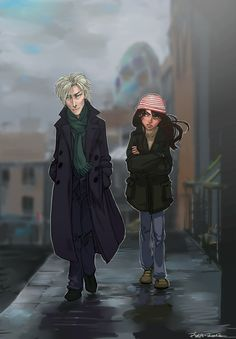 The Thin White Sleuth... by Pika-la-Cynique. Jareth  Sarah. I love how she's wearing baby Toby's hat!
