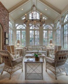 Sunroom and patio? It is a million degrees in the summer. Sala Grande, Deco Retro, Screened In Porch, Outdoor Rooms, Outdoor Kitchens, Outdoor Living, Conservatory, Traditional House, Traditional Decor