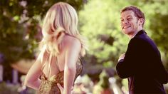 Klaus and Caroline in The Vampire Diaries