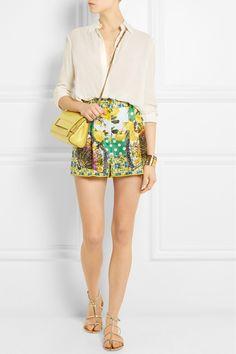 Dolce & Gabbana|Printed silk-satin shorts|