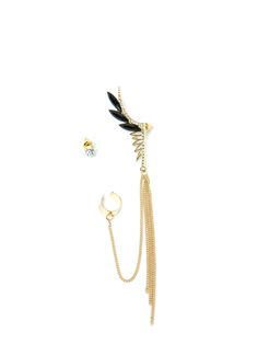 Just Wing It Cuff 'N Earring Set GOLDBLACK GOLDCLEAR SILVERBLACK - GoJane.com silver or gold