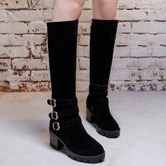 Zip Buckle Straps Boots