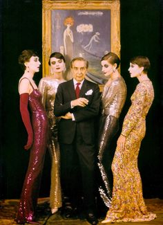"Truly sensational photo of NORMAN NORELL and his ""Mermaids"" in shimmering evening gowns. 1960 New York City. Photo by MILTON H. GREENE. From But That's Another Story : Milton H. Gree"