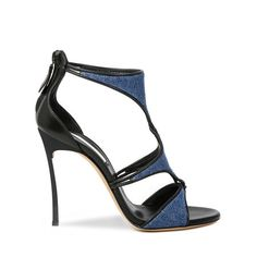 Gladitaroen Sandale Denim. Blade sandal with intersection of geometric details in denim and black calf leather piping. Casadei
