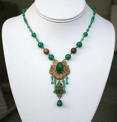 Art Deco Czech Necklace Jade Glass Gilt Antique by zephyrvintage, $135.00