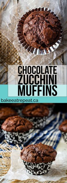 These chocolate zucchini muffins are a great way to use up all that garden zucchini! Moist, chocolatey, delicious muffins that everyone will love! Chocolate Zucchini Cookies, Healthy Chocolate Zucchini Bread, Best Moist Chocolate Cake, Chocolate Chocolate, Chocolate Muffins Moist, Zuchinni Cookies, Zuchinni Cupcakes, Chocolate Recipes, Zucchini Bread Muffins
