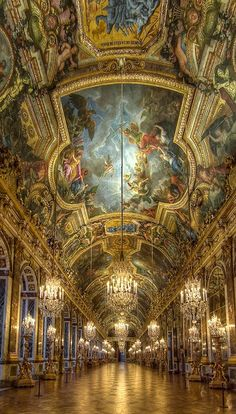 Château de Versailles with the paintings on the ceilings