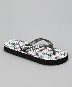 Take a look at this Black Glitter Hello Kitty Flip-Flop by Hello Kitty on #zulily today!