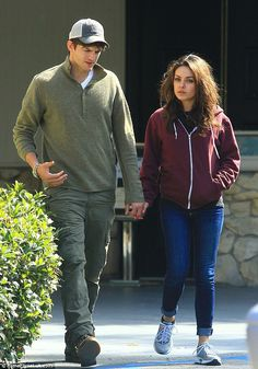 Ashton Kutcher and Mila Kunis dress down for casual stroll