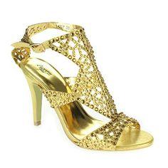 Frau Damen Kristall Diamant Abend Hochzeit Party Abschlussball Braut Hoch  Stiletto Absatz Sandalen Gold Schuhe Größe 78a26a7051