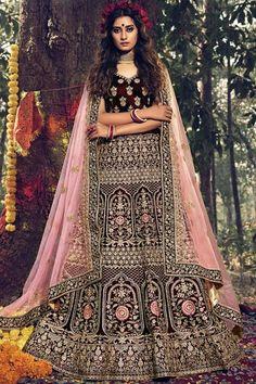 Dark Maroon velvet semi stitch lehenga with velvet choli. This lehenga choli is embellished with resham, zari, stone and dori work. Product are available in 32 to 58 sizes. It is perfect for Bridal Wear. #dark maroon #bridal #lehanga #choli# Andaazfashion #Malaysia Bridal Lehenga Choli, Bollywood Lehenga, Designer Bridal Lehenga, Party Wear Lehenga, Lehenga Choli Online, Indian Wedding Lehenga, Indian Lehenga, Wedding Sarees, Indian Bridal