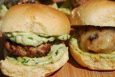 Sean's Chipotle Cheesy Pork Sliders with Avocado Spread...I'm crazy about them, especially with chorizo crumbles on top! Throw some on the grill for #MemorialDay.