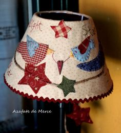 zulu and co Bird Applique, Applique Quilts, Wool Applique, Lampshade Redo, Lampshades, Japanese Patchwork, Patchwork Ideas, Country Lamps, Lamp Makeover