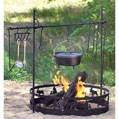 Guide Gear® Campfire Cook Set with hooks for dutch ovens and moose n pine fire circle #CampCooking