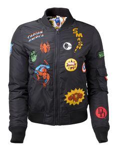 Marvel - Female Black Bomber Jacket with Hero Patches - Marvel - Brands