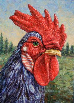 Wild Blue Rooster Painting. I love the look of this Rooster! It definitely means business! Great colors and background! Beautiful Rooster!
