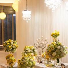 #yellow #weddingtheme #flowerdecoration #flowergate #gallerytable #receptiontable #pingpong #welcomedrinks Flower Decorations, Wedding Decorations, Reception Table, Gate, Yellow, Flowers, Florals, Wedding Decor, Flower