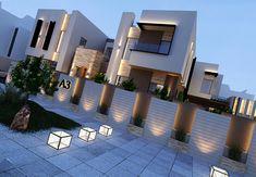 Architecture Discover Villa in Dubai Row House Design, Duplex House Design, Minimalist Architecture, Modern Architecture House, Exterior Wall Design, Dubai Houses, Modern House Facades, Modern Villa Design, Compound Wall Design