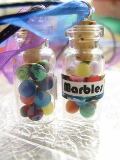 Miniature Marbles Jar  Glass Bottle Necklace  Mini by starfirewire, $12.00