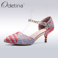 Find More Women's Pumps Information about Odetina 2017 Spring Natural Women Thin Heel Woven Shoes Fashion Ladies Pointed Toe Mary Jane Pumps Metal Straps Summer Shoes,High Quality shoes wear,China shoes kitchen Suppliers, Cheap shoe shine shoes from Odetina - Store on Aliexpress.com