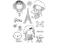 Penny Black Mimi in Paris Clear Stamps Colouring Pages, Coloring Books, Penny Black Karten, Doodles, Penny Black Stamps, Art Craft Store, Tampons, Digi Stamps, Copics