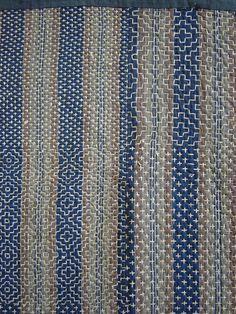 A Gorgeous and Intricately Sashiko Stitched Kotatsugake @ Sri Threads