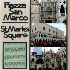 """Italy - St. Mark's Square - Scrapbook.comThe centerpiece of the piazza is the magnificent St. Mark's Basilica. Commissioned in 1071 by Doge Domenico Contarini, this amazing church is built in Venetian-Byzantine style, a mixture of western and eastern styles. It is nicknamed the """"Church of Gold"""" because of its opulence, and has been the seat of the Patriarch of Venice, archbishop of the Roman Catholic Archdiocese of Venice since 1807."""