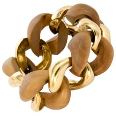 gold and wood bracelet, 1970's.