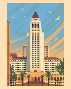My stylized illustration of Los Angeles City Hall, the center of the government of the city of Los Angeles. A very iconic structure that was completed in Orange Peel Texture, Building Illustration, Empire State Building, Big Ben, Giclee Print, United Kingdom, Skyscraper, Vibrant Colors, Wall Art