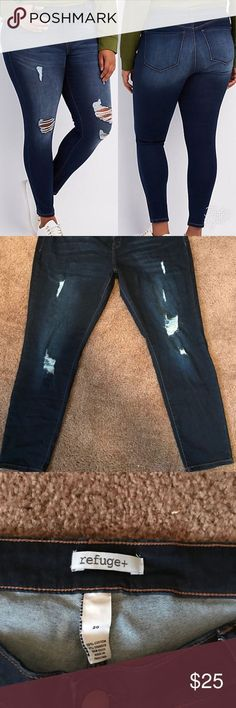 Plus Size NEVER WORN Dark Blue Distressed Jeans NEW WITHOUT TAGS. Charlotte Russe Plus Size NEVER WORN Dark Blue Distressed Jeans. Tried on, but never worn. Looks EXACTLY as pictured refuge Jeans Skinny