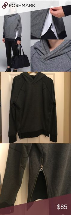 Lululemon Om and Roam Pullover Sweatshirt Super warm pullover with two front zippers and kangaroo pouch pocket. Dark grey with black trim and thumb holes. No signs of wear. Excellent condition. Smoke-free, pet-free home. lululemon athletica Tops Sweatshirts & Hoodies