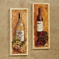 Merlot and Chardonnay Wine Canvas Wall Art Set