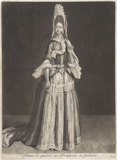 Woman with a Fan and Stein Kerke tie, Peter Schenk I, after Jean de Saint-Jean, 1694 by Celestial Images Baroque Fashion, European Fashion, 17th Century Fashion, 18th Century, Baroque Dress, Saint Jean, Historical Costume, Fashion Plates, Fashion History