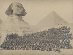 Large World War One photograph of British & Indian Sikh soldier group in front of the Sphinx, Egypt, 23cm x 28cm. Circa 1914/1918.