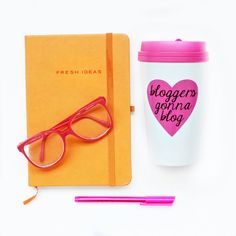 Bloggers Gonna Blog Pink Travel Mug Inspirational Coffee Mug Gift... ($20) ❤ liked on Polyvore featuring home, kitchen & dining, drinkware, black, drink & barware, home & living, mugs, personalized coffee mugs, polka dot tea cups and pink cups